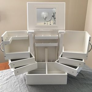 White makeup storage case